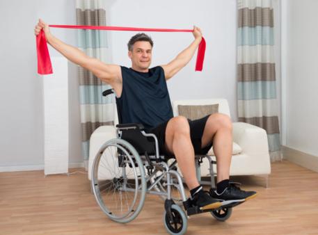 exercising man on a wheelchair