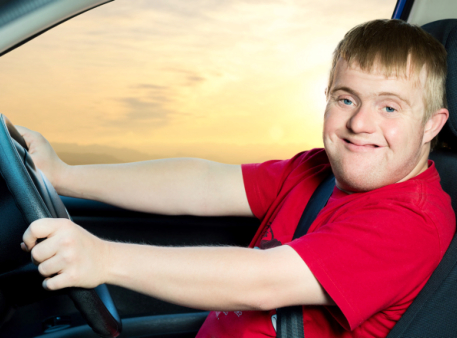 man with special needs driving